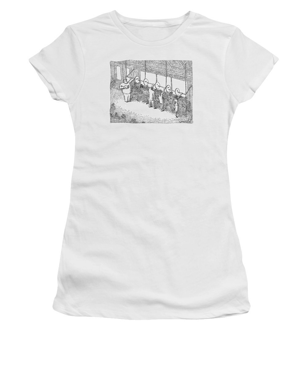 Subway Women's T-Shirt featuring the drawing The Inside Of A Subway Car Is Organized With Size by John O'Brien