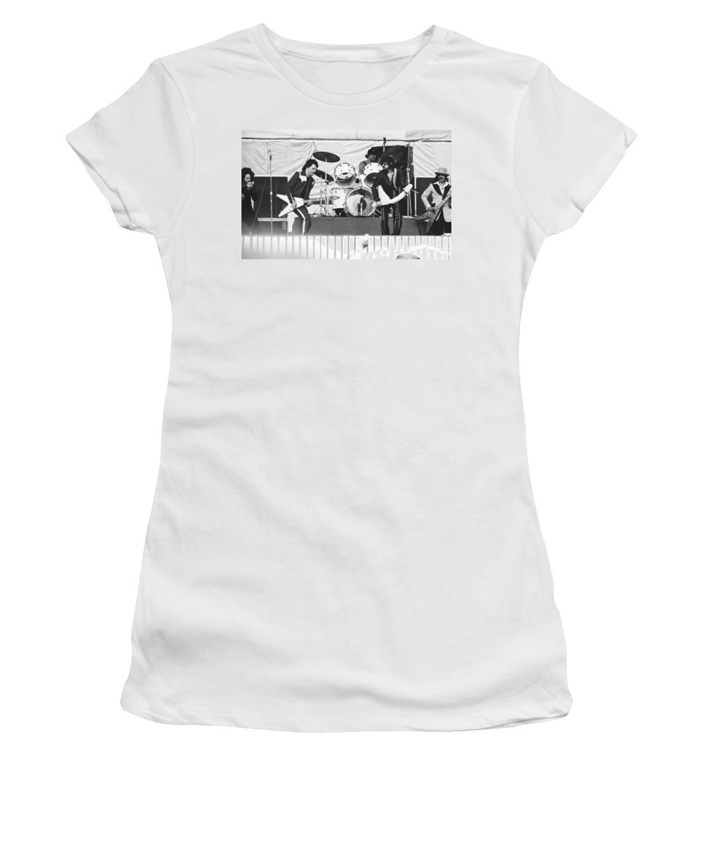 J. Geils Women's T-Shirt (Athletic Fit) featuring the photograph The J. Geils Band Rock Out In Oakland In 1976 by Ben Upham