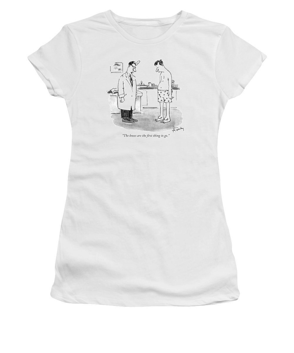Medical Women's T-Shirt (Athletic Fit) featuring the drawing The Knees Are The First Thing To Go by Mike Twohy