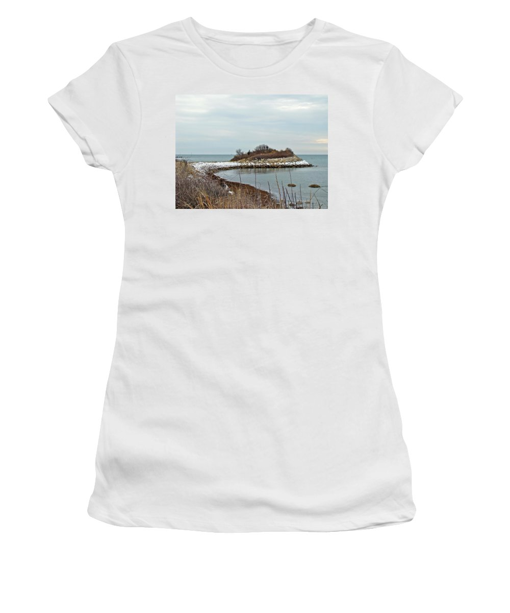 Quissett Women's T-Shirt (Athletic Fit) featuring the photograph The Knob - Quissett - Cape Cod by Mother Nature