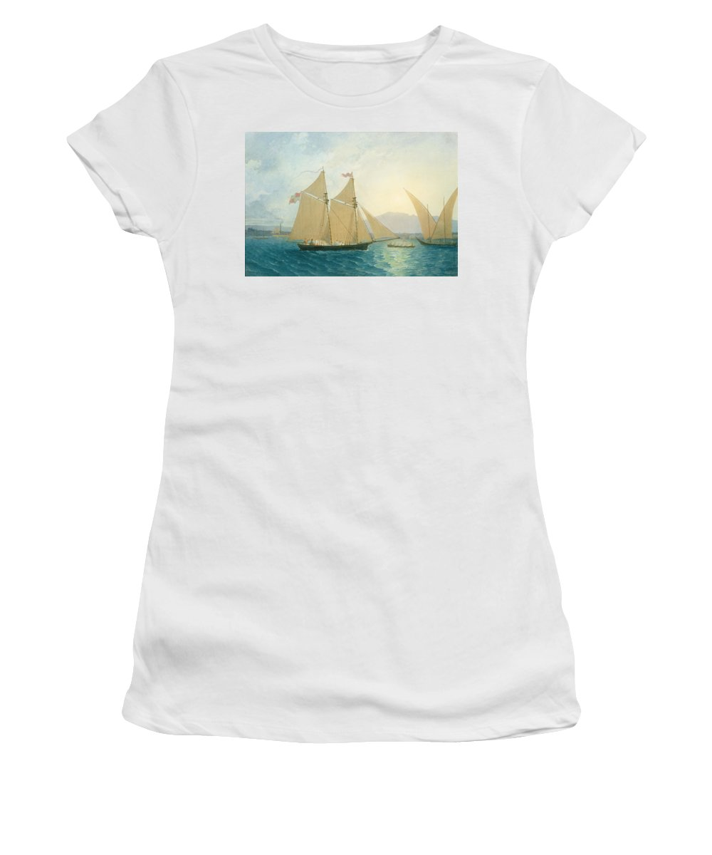 Boat; Boats; Sails; Sailing; Rowing; Flag; Yacht; Yachting; Boating; Mountains; Swiss City; Switzerland; Launching Women's T-Shirt (Athletic Fit) featuring the painting The Launch La Sociere On The Lake Of Geneva by Francis Danby