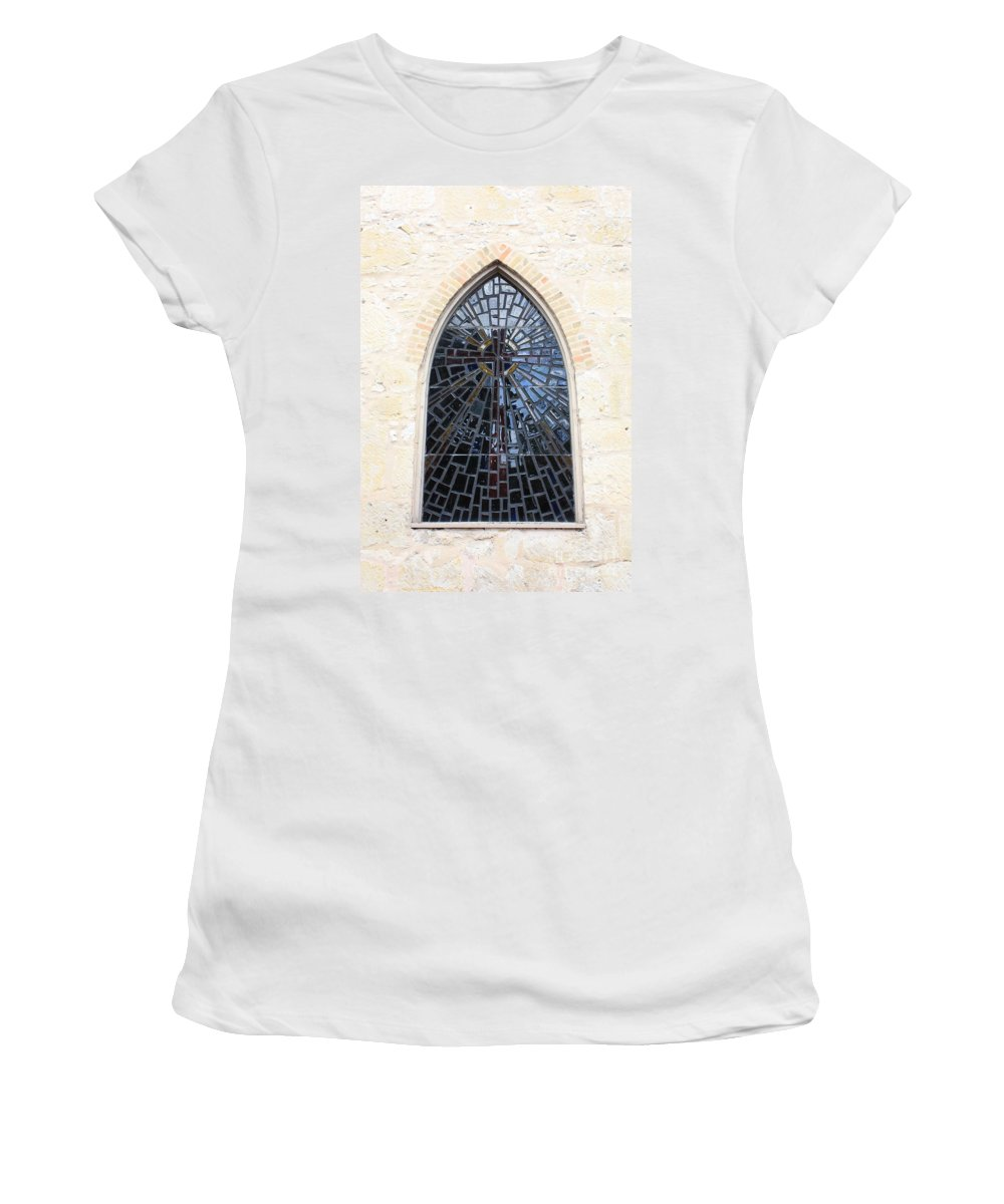 The Little Church In San Antonio Women's T-Shirt (Athletic Fit) featuring the photograph The Little Church Window by Carol Groenen