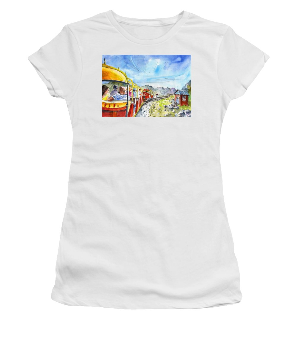 Travel Women's T-Shirt (Athletic Fit) featuring the painting The Little Train Of Artouste by Miki De Goodaboom