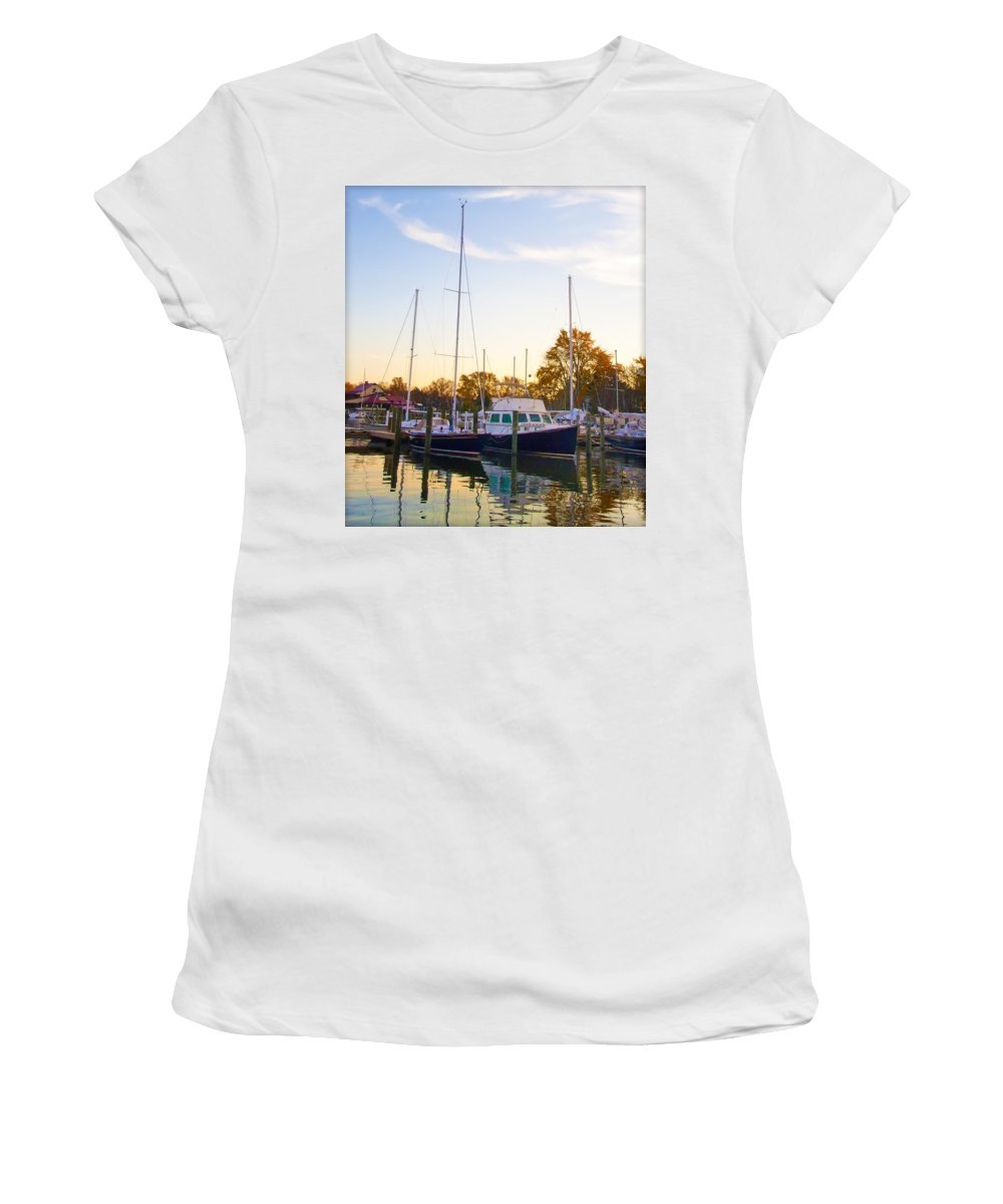 Marina Women's T-Shirt featuring the photograph The Marina At St Michael's Maryland by Bill Cannon