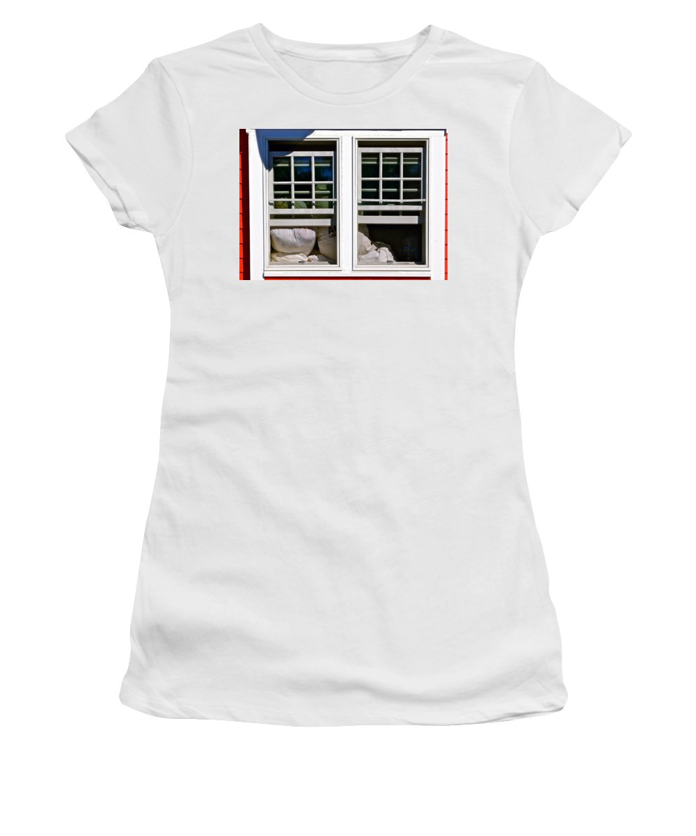 Cape Cod Windows Women's T-Shirt (Athletic Fit) featuring the photograph The Secret Life Of Laundry by Ira Shander