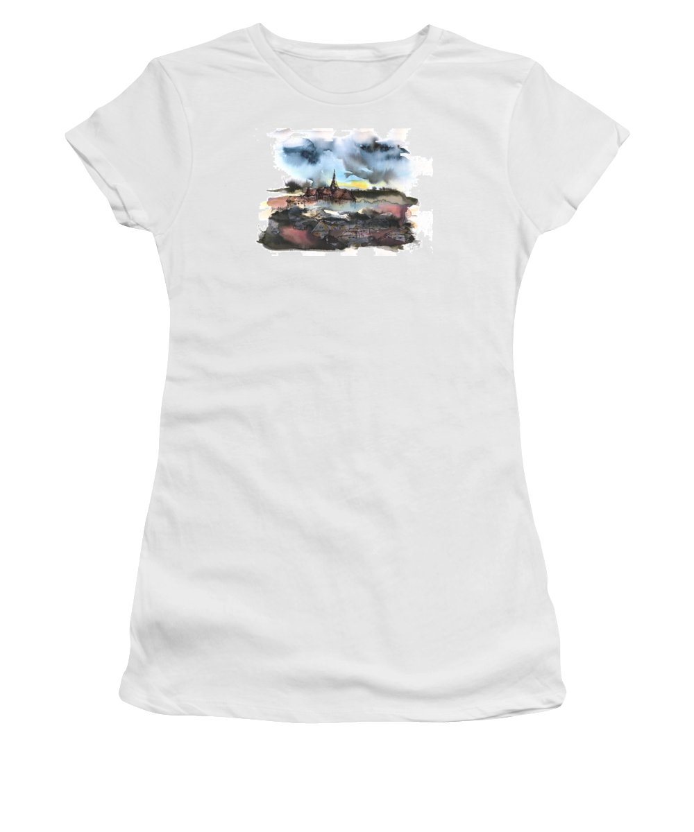 Watercolor Landscape Women's T-Shirt featuring the painting The sinking village by Aniko Hencz