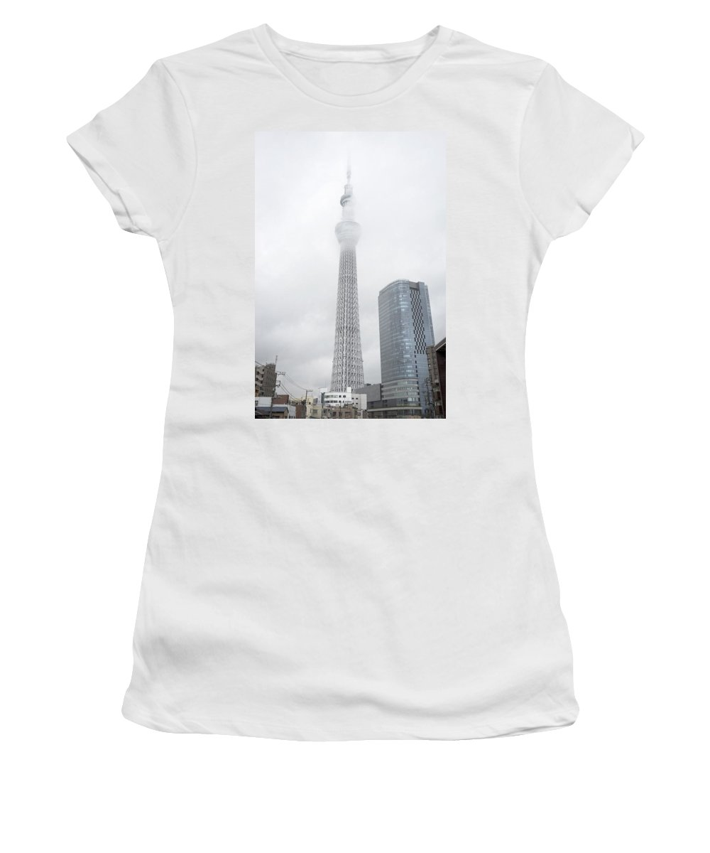 Skytree Women's T-Shirt featuring the photograph The Skytree In Tokyo by For Ninety One Days