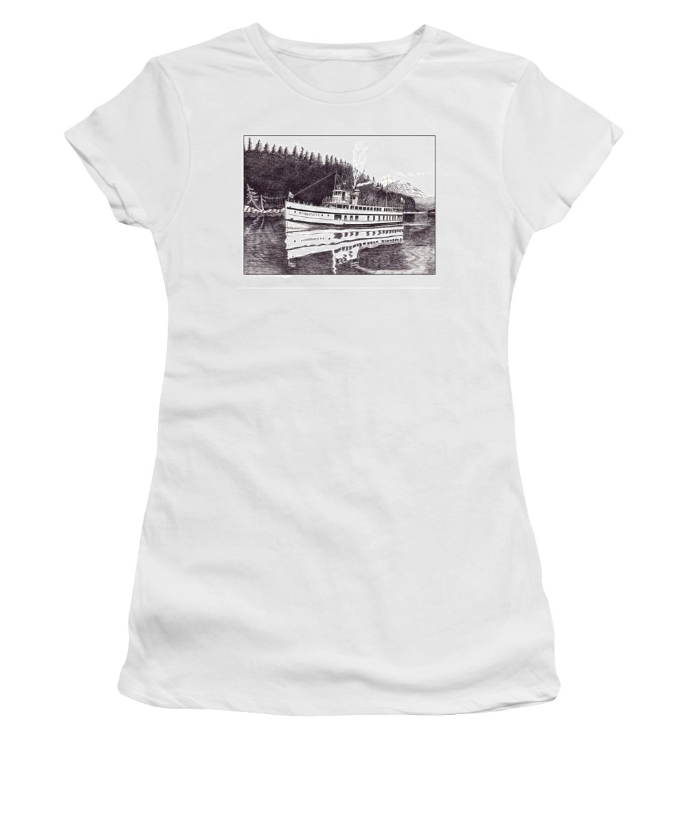 Marine Paintings Marine Art. Canvas Prints Of Boats. Prints Of Boats. Prints Of Waterfront Art. Canvas Prints Of Yachts. Framed Marine Transportation Art.framed Prints Of Lighthouses. Women's T-Shirt featuring the drawing The Steamer Virginia V by Jack Pumphrey
