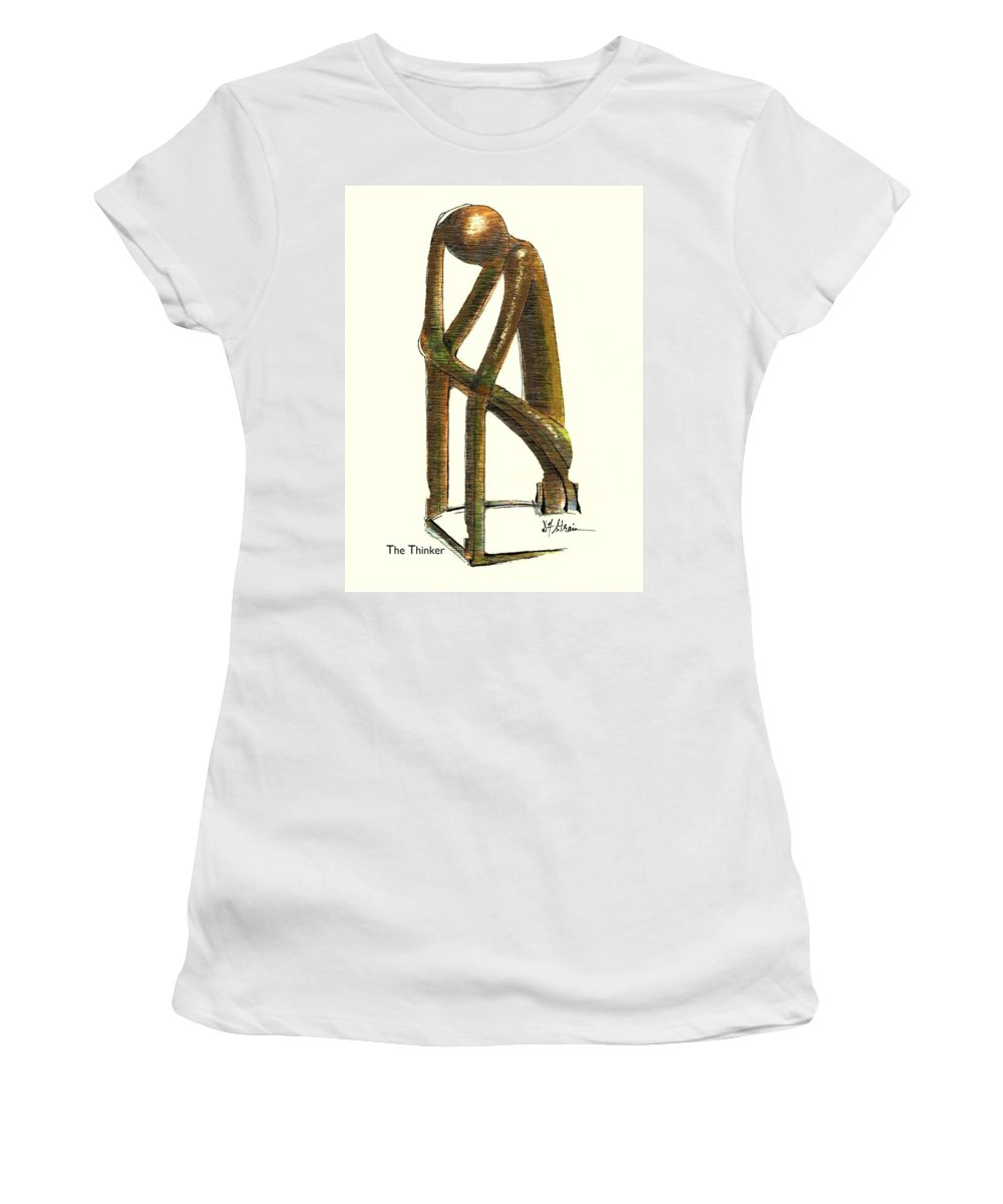 Fineartamerica.com Women's T-Shirt (Athletic Fit) featuring the painting The Thinker Number 11 by Diane Strain