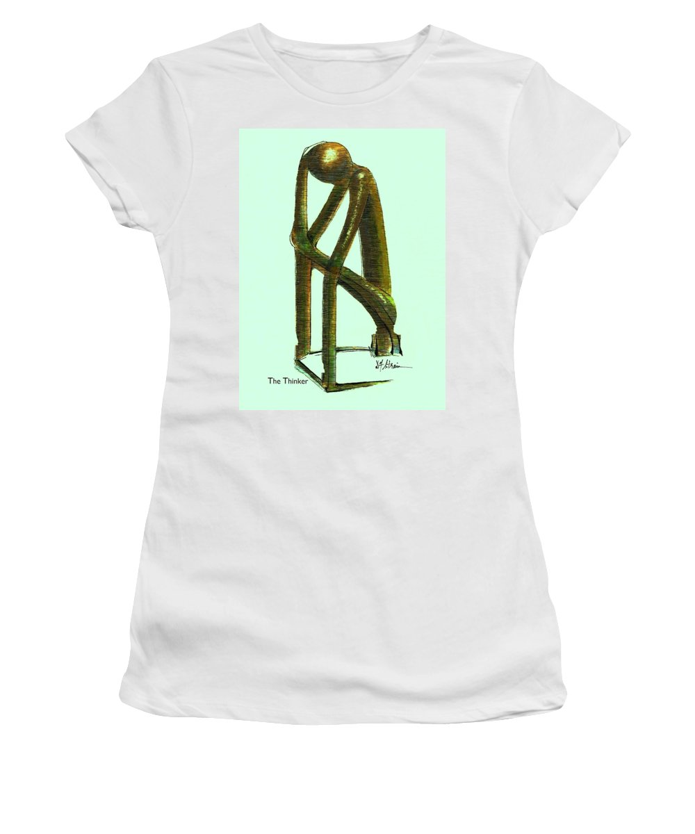 Fineartamerica.com Women's T-Shirt (Athletic Fit) featuring the painting The Thinker Number 2 by Diane Strain