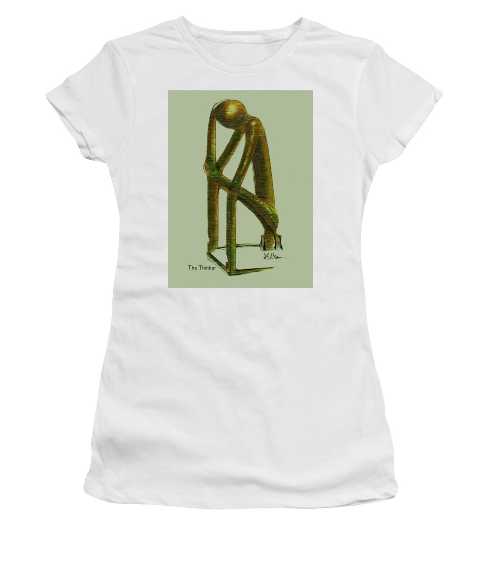 Fineartamerica.com Women's T-Shirt (Athletic Fit) featuring the painting The Thinker Number 6 by Diane Strain
