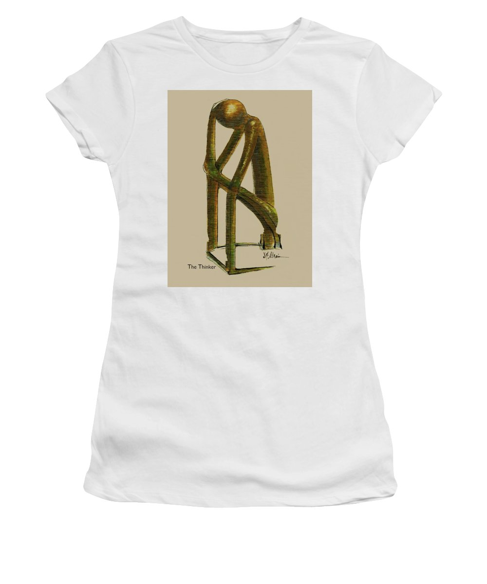 Fineartamerica.com Women's T-Shirt (Athletic Fit) featuring the painting The Thinker  Number 7 by Diane Strain