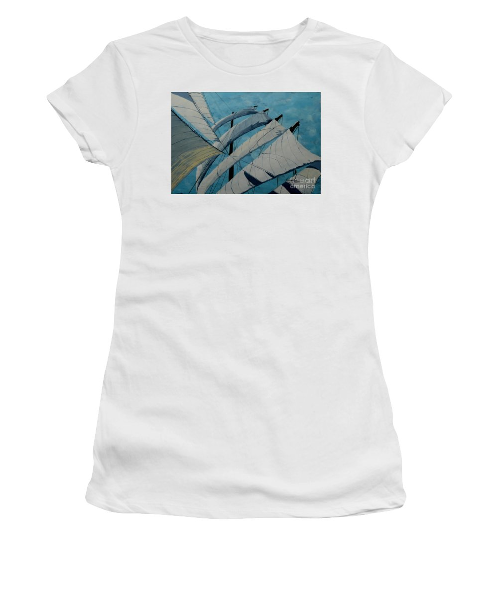 Sails Women's T-Shirt (Athletic Fit) featuring the painting The Tower Of Power by Anthony Dunphy
