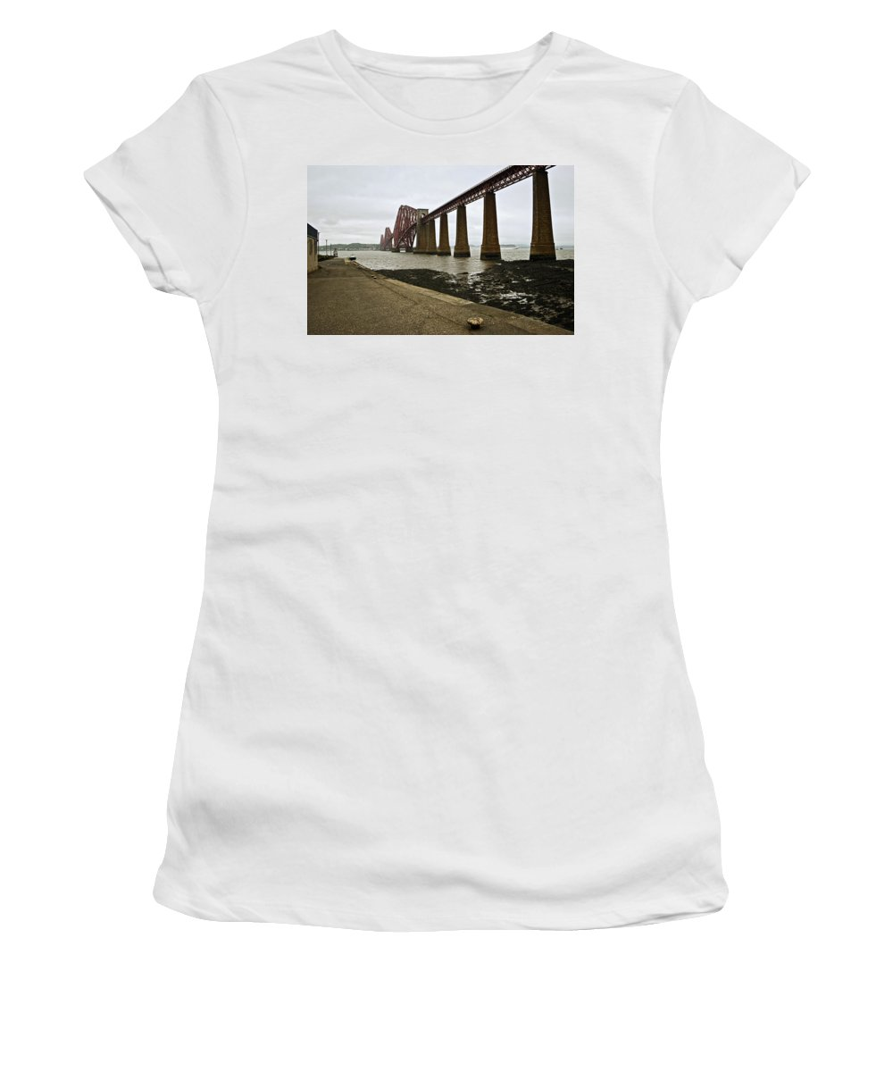 Forth Bridge Women's T-Shirt featuring the photograph The View Of The Forth Bridge by Lucinda Walter