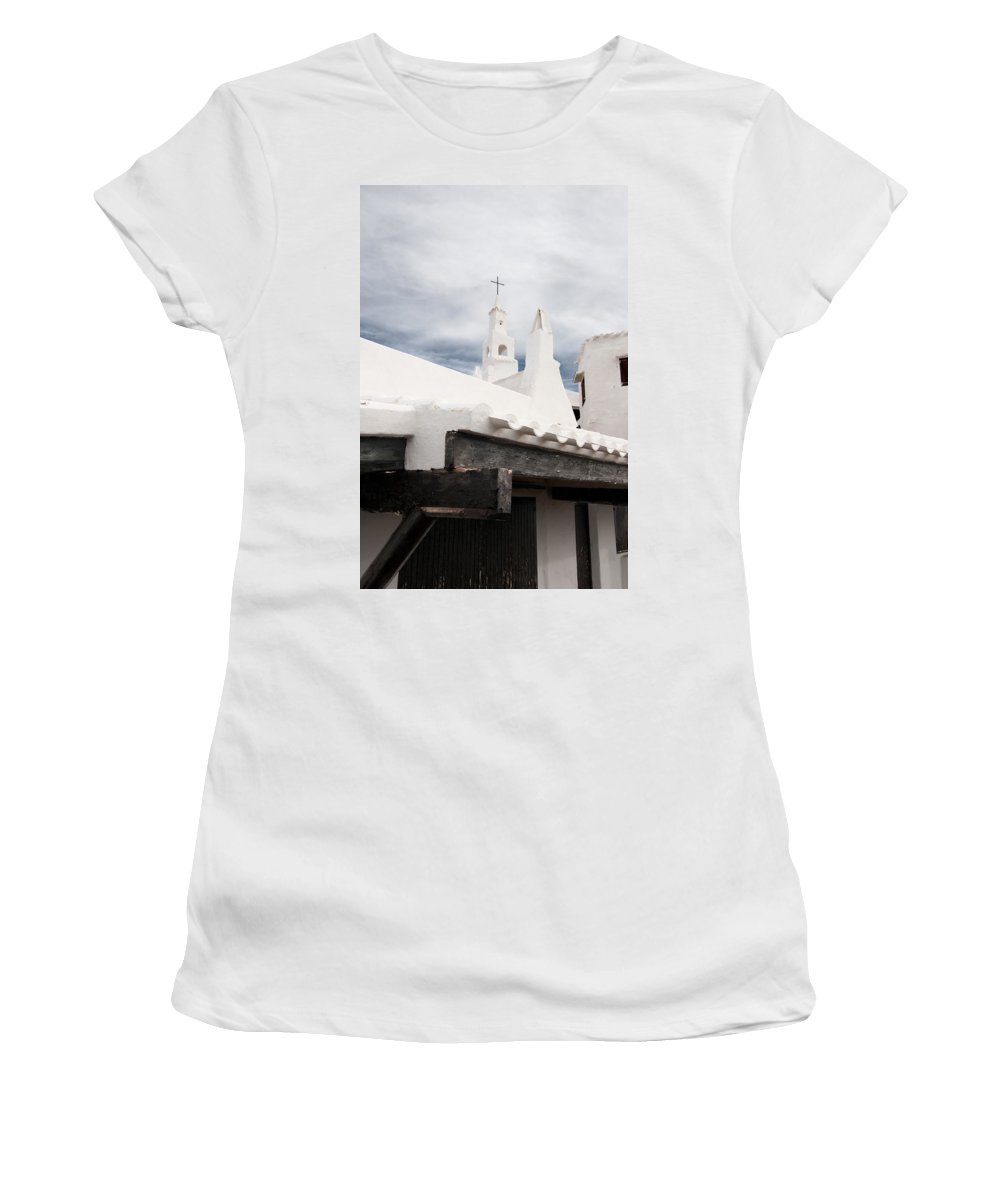 Azure Women's T-Shirt (Athletic Fit) featuring the photograph Binibeca Vell In Menorca Is A Small Fishermen Villa With The Taste Of Past Times - The White Chapel by Pedro Cardona Llambias