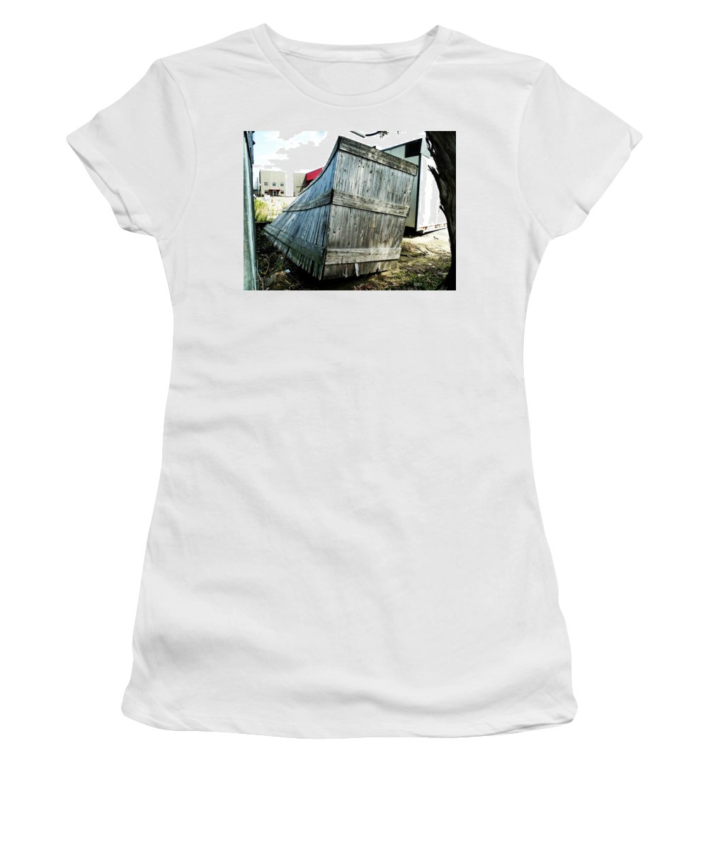 Leaning Women's T-Shirt featuring the photograph The Winner In The Leaning Contest by Steve Taylor