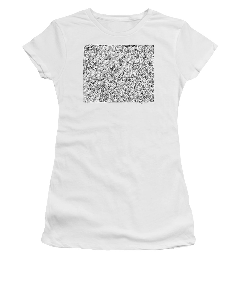 Migliore Women's T-Shirt (Athletic Fit) featuring the drawing Themeless Process 10 by Dave Migliore