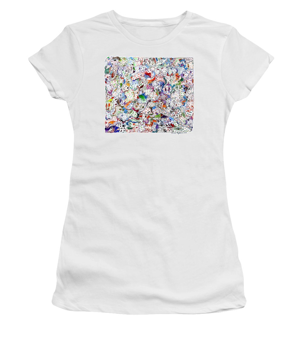 Migliore Women's T-Shirt (Athletic Fit) featuring the drawing Themeless Process 9 by Dave Migliore