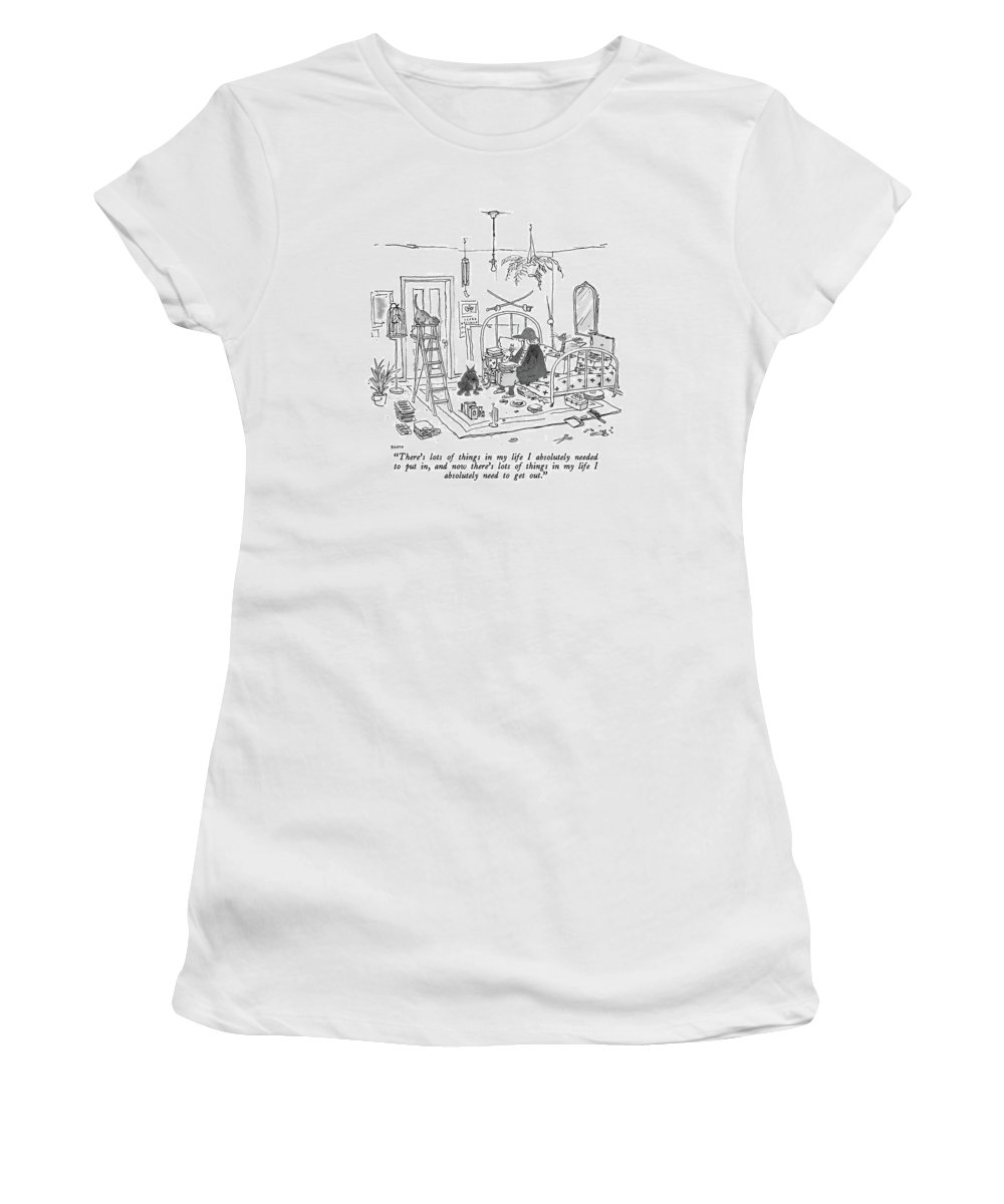Old Lady With Baseball Cap To Her Many Pets As She Sits On The Bed In Her Apartment. Her Junk Has Been Neatly Lined Up. Interiors Women's T-Shirt featuring the drawing There's Lots Of Things In My Life I Absolutely by George Booth