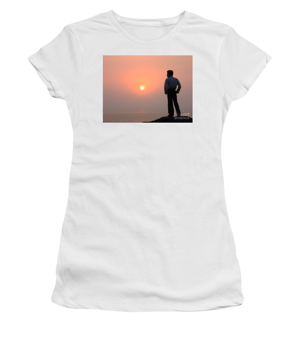Sunset Women's T-Shirt (Athletic Fit) featuring the photograph Thinking by Dattaram Gawade