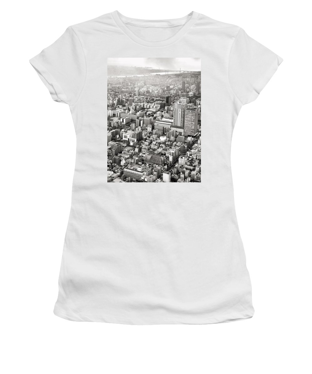 Skytree Women's T-Shirt featuring the photograph This Is Tokyo In Black And White by For Ninety One Days