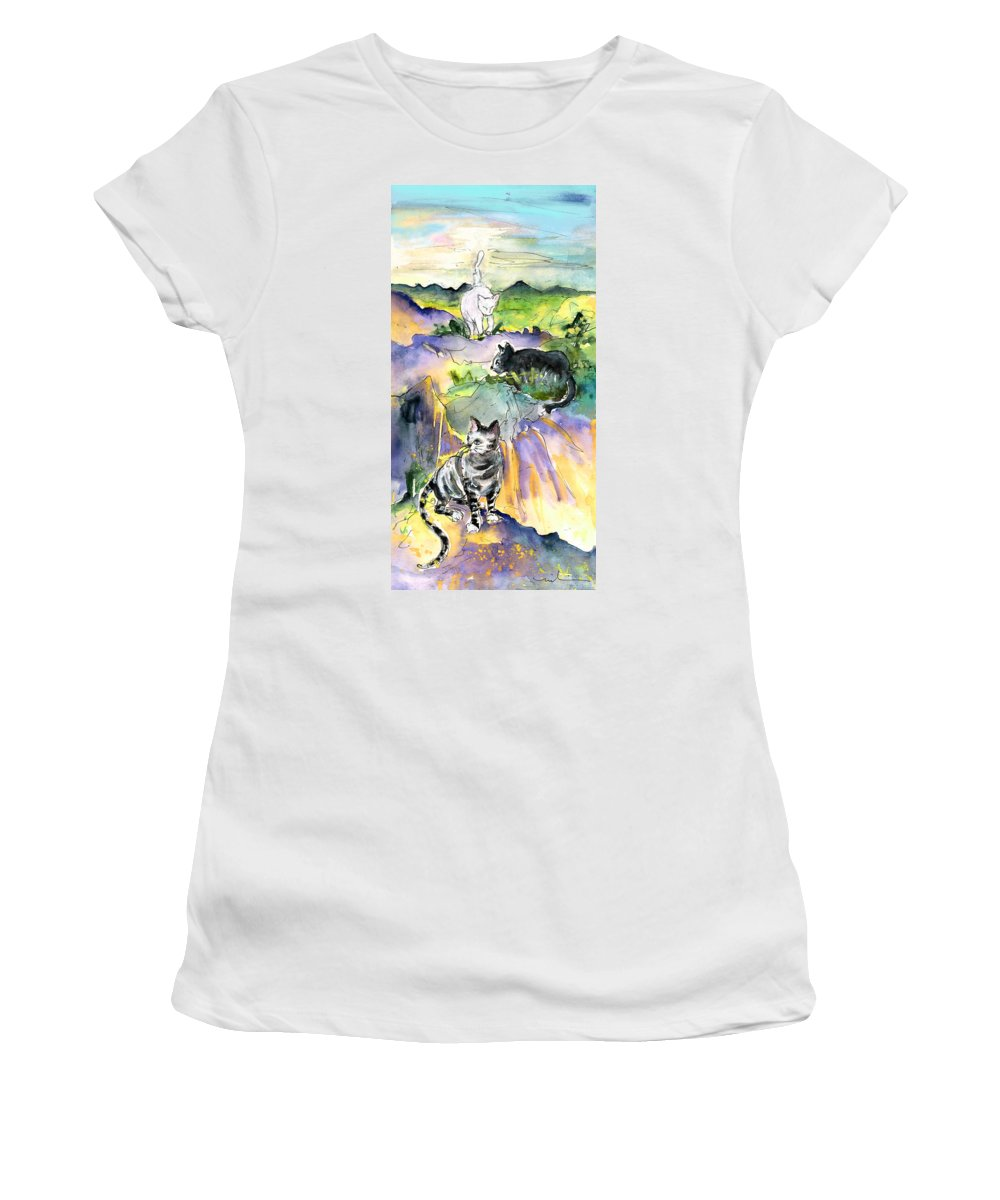 Travel Women's T-Shirt (Athletic Fit) featuring the painting Three Cats On The Penon De Ifach by Miki De Goodaboom