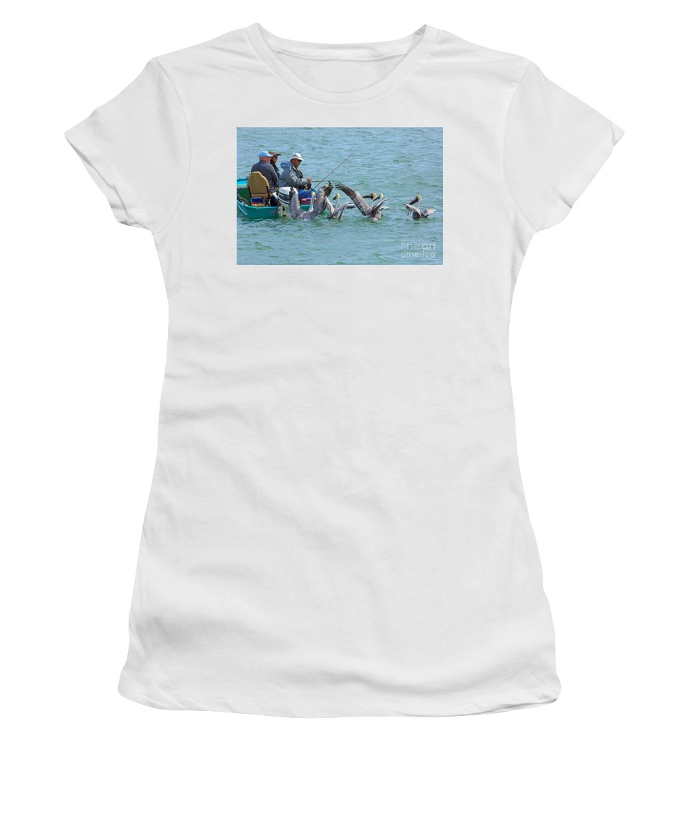 Men Women's T-Shirt (Athletic Fit) featuring the photograph Three Men In A Boat by Louise Heusinkveld
