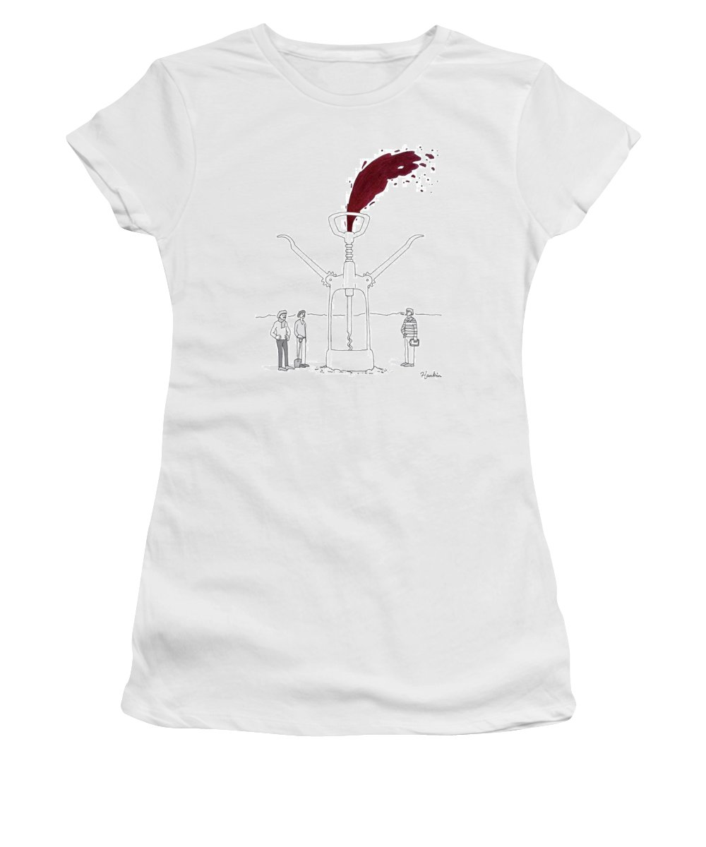 Captionless Women's T-Shirt featuring the drawing Three Men In Berets Drill Into The Ground by Charlie Hankin