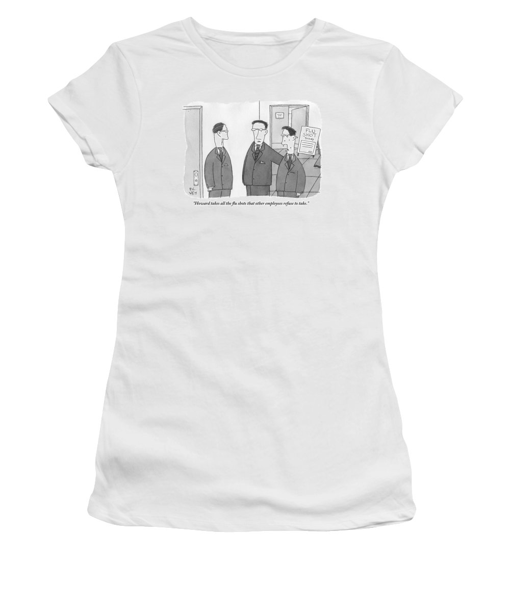 Flu Shots Women's T-Shirt featuring the drawing Three Men In Suits. One Is Sweating. Sign by Peter C. Vey