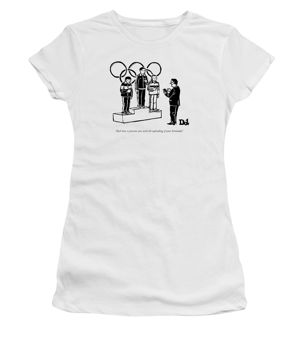#condenastnewyorkercartoon Women's T-Shirt featuring the drawing Three Olympic Athletes Stand On A Daius by Drew Dernavich