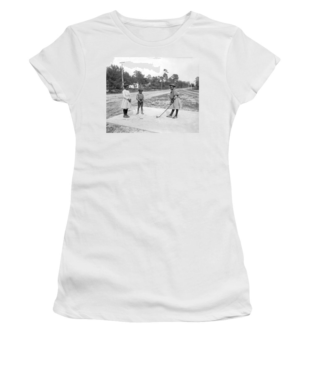 1900s Women's T-Shirt featuring the photograph Three Young Children Play Golf by Underwood Archives