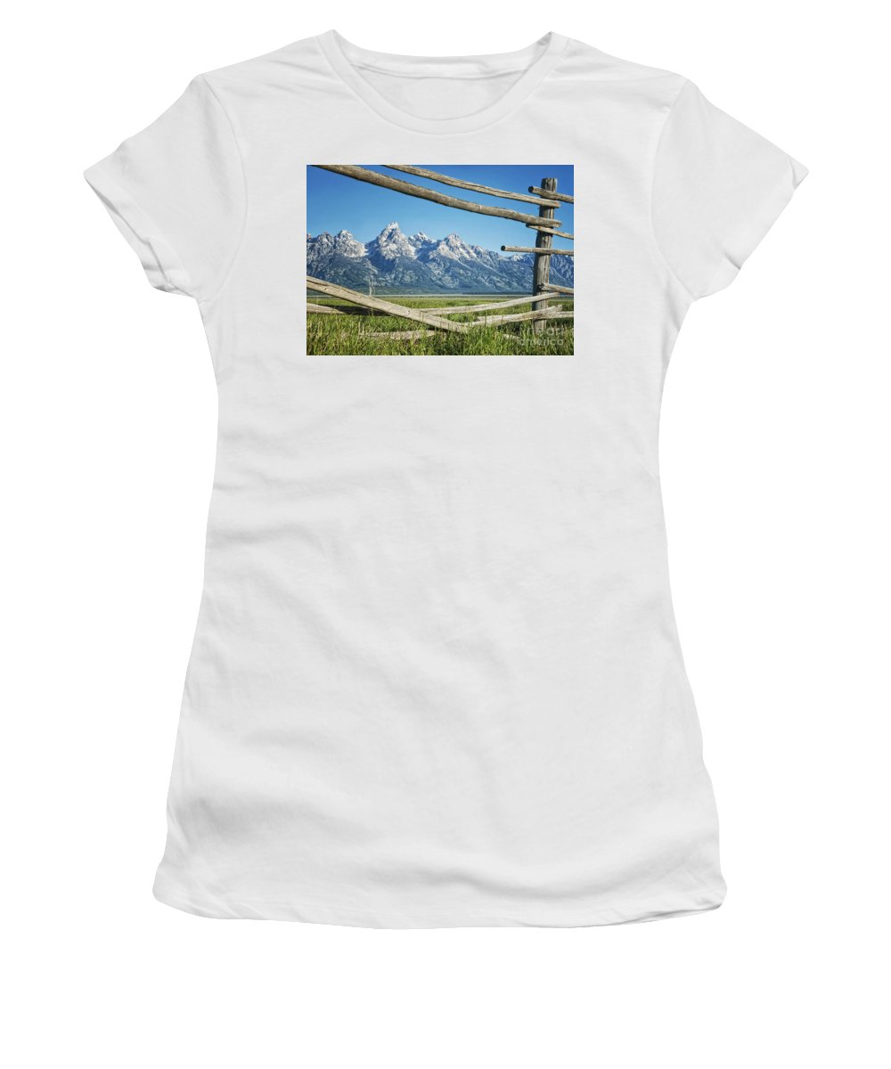 Tetons Women's T-Shirt (Athletic Fit) featuring the photograph Through The Fence by Claudia Kuhn
