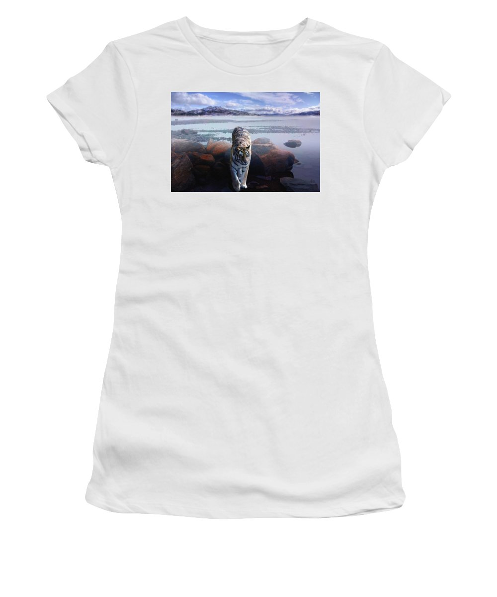 Tiger Women's T-Shirt (Athletic Fit) featuring the digital art Tiger In A Lake by Pati Photography