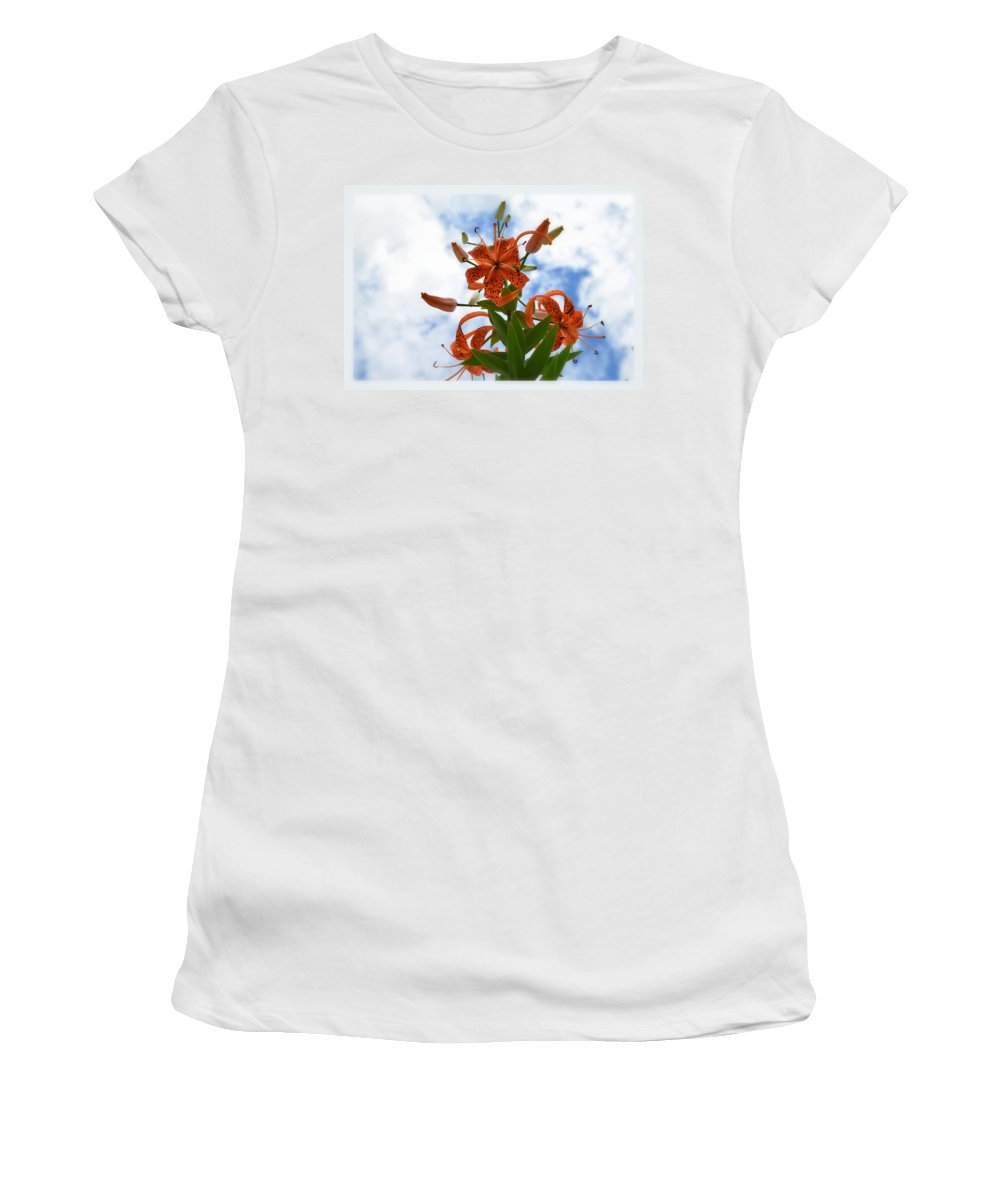 Flower Women's T-Shirt (Athletic Fit) featuring the photograph Tigers In The Clouds 8567 by Bonfire Photography