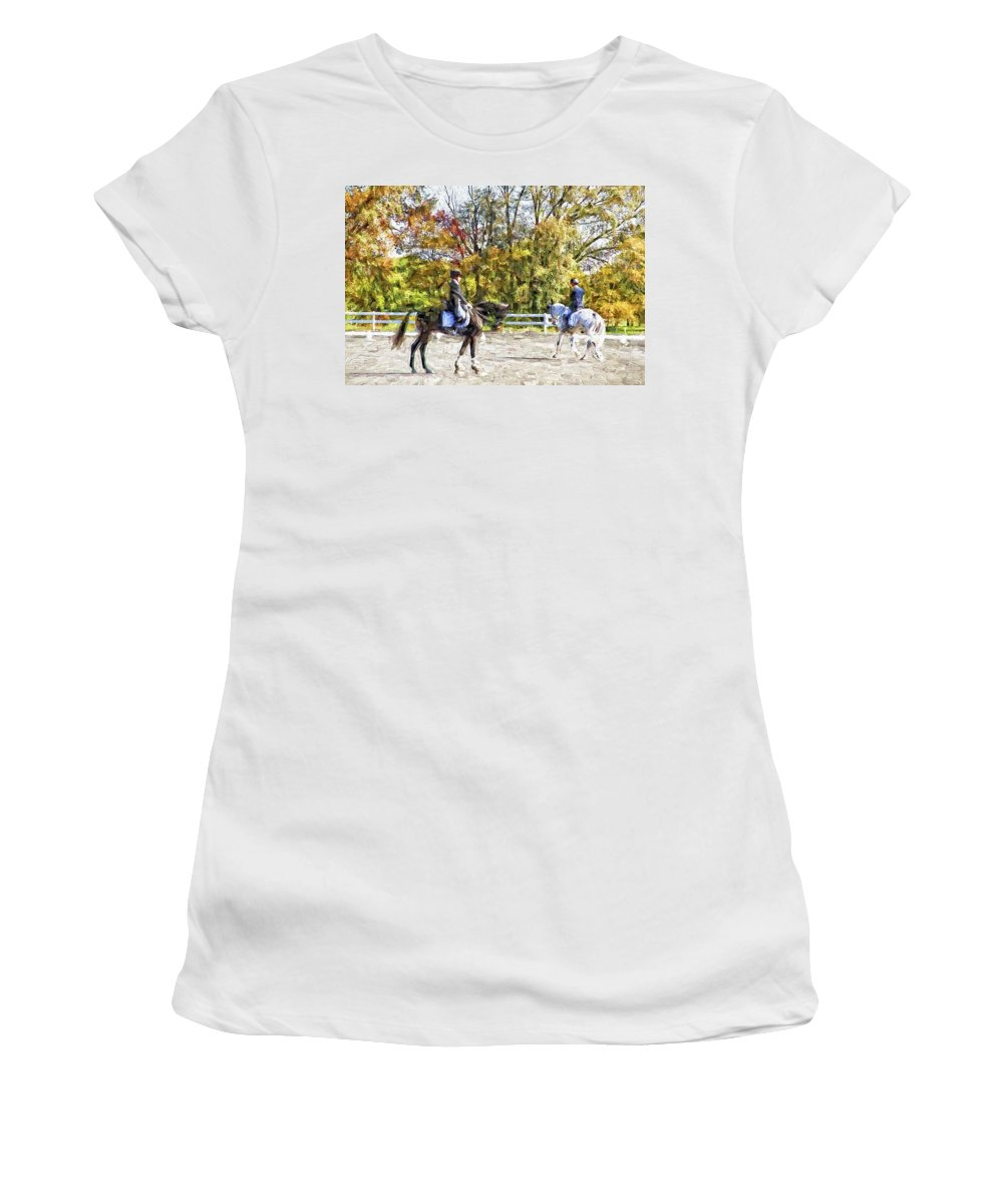 Horses Women's T-Shirt featuring the photograph To A Halt by Alice Gipson