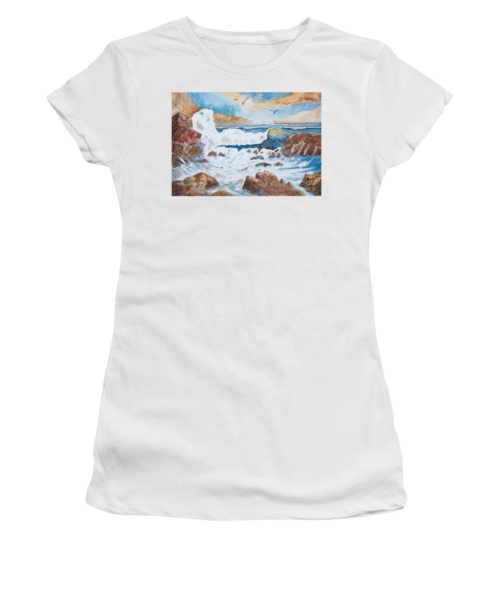 Landscape Women's T-Shirt featuring the mixed media To Rough For Fishing by Don Hand