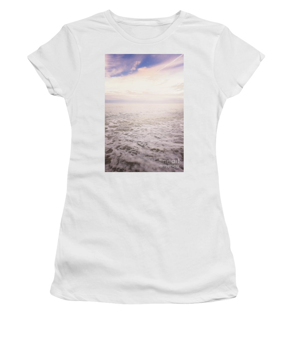Alone Women's T-Shirt (Athletic Fit) featuring the photograph To The Ocean White With Foam by Margie Hurwich