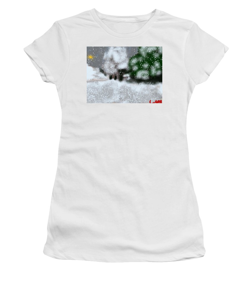 Maine Women's T-Shirt featuring the painting Too Close To Winter by Bill Minkowitz