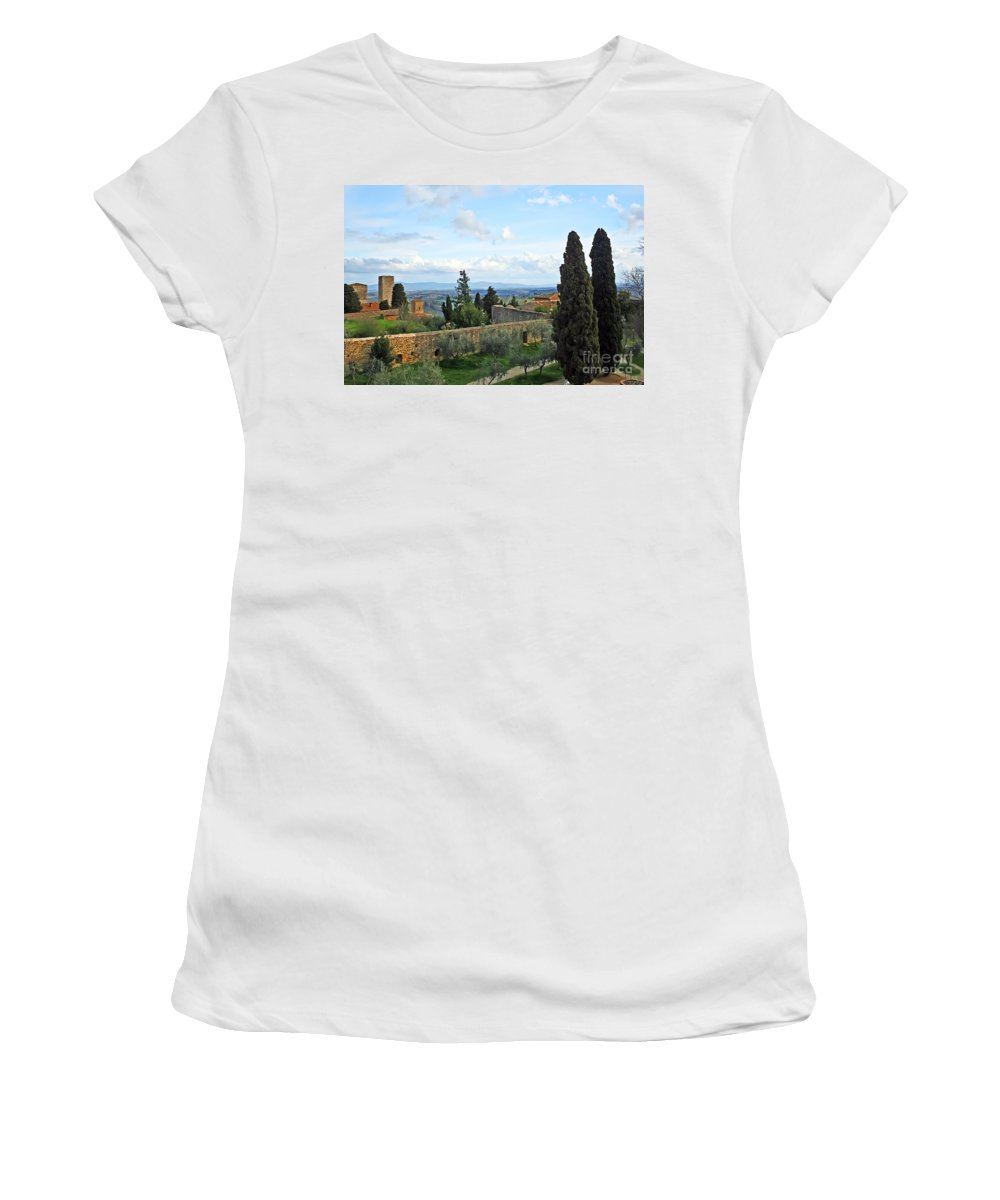 Travel Women's T-Shirt featuring the photograph Top Of A Hill Town by Elvis Vaughn