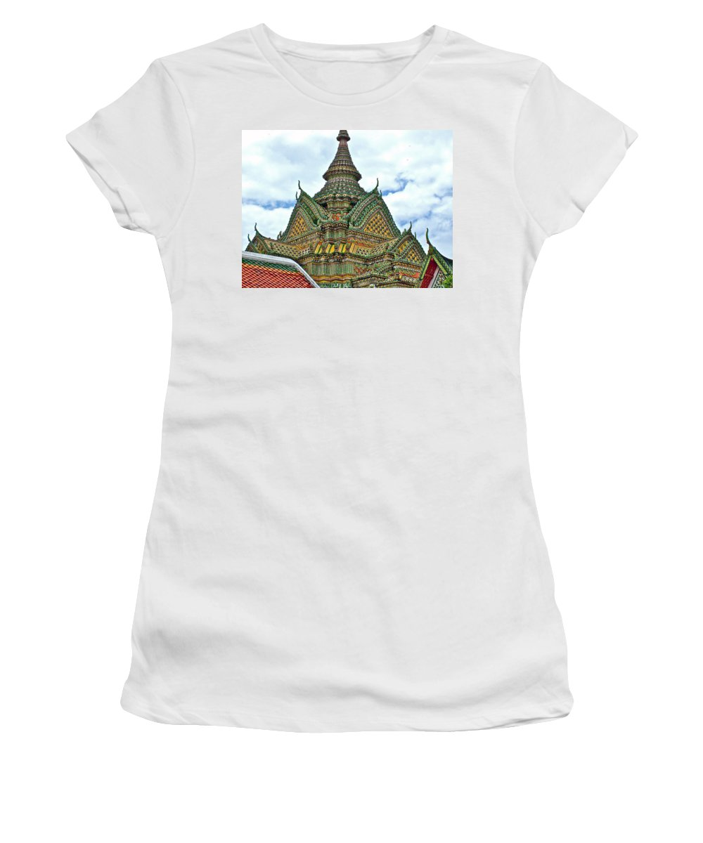 Top Of Temple In Wat Po In Bangkok Women's T-Shirt featuring the photograph Top Of Temple In Wat Po In Bangkok-thailand by Ruth Hager