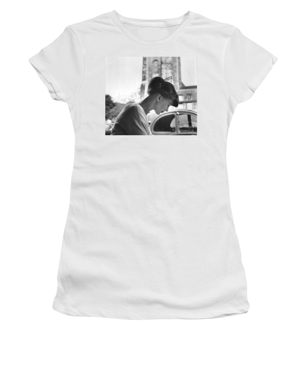 Torun Women's T-Shirt (Athletic Fit) featuring the photograph Torun Bulow-hube In Antibes 1962 by Marianne Hederstrom Greenwood