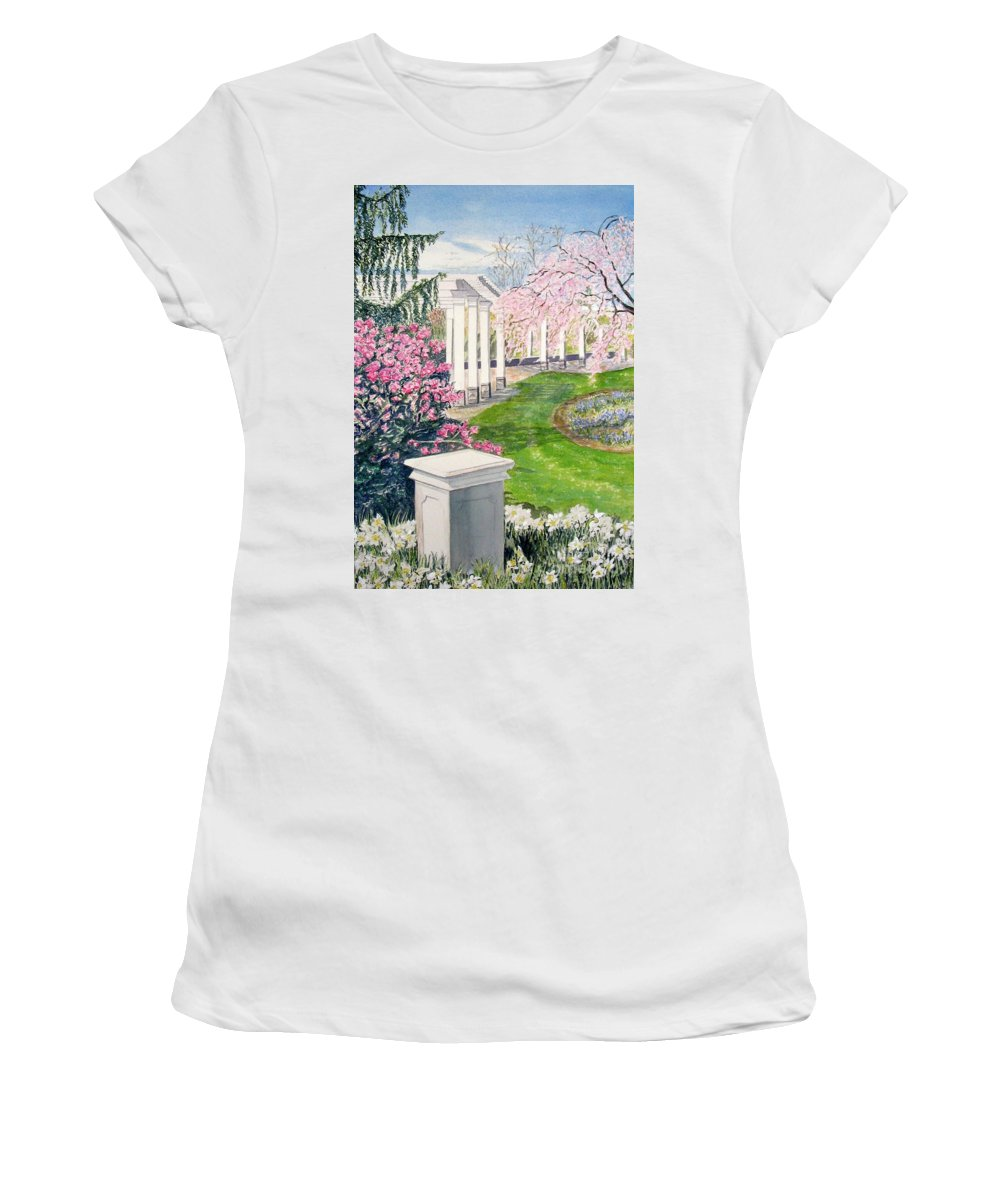 Tower Hill Women's T-Shirt (Athletic Fit) featuring the painting Tower Hill by Carol Flagg