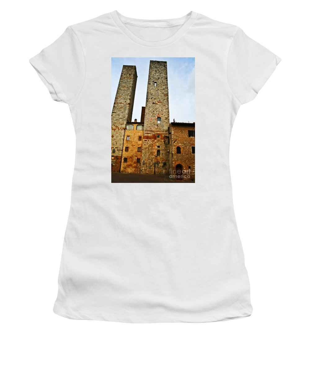 Travel Women's T-Shirt featuring the photograph Towers Of San Gimignano by Elvis Vaughn