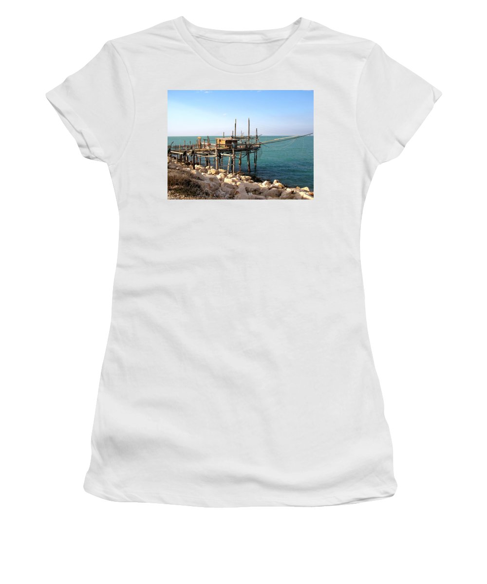 Trabocco Women's T-Shirt featuring the photograph Trabocco by Marcello Cicchini