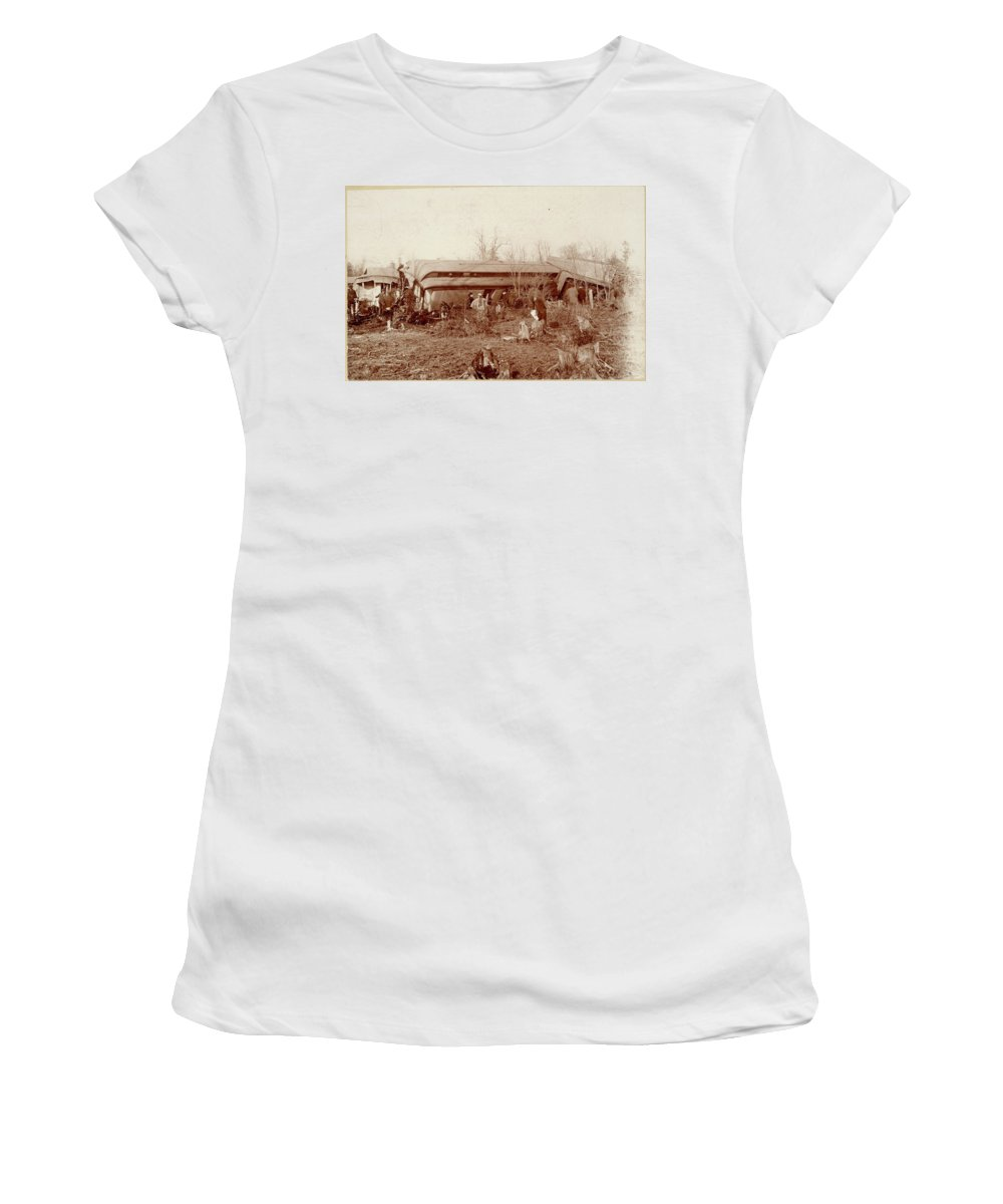 1890 Women's T-Shirt (Athletic Fit) featuring the photograph Train Wreck, 1890s by Granger