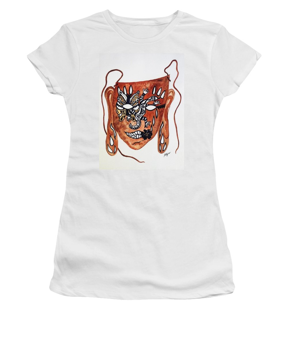 Mask Women's T-Shirt (Athletic Fit) featuring the painting Transforming The Dream by Ellen Levinson