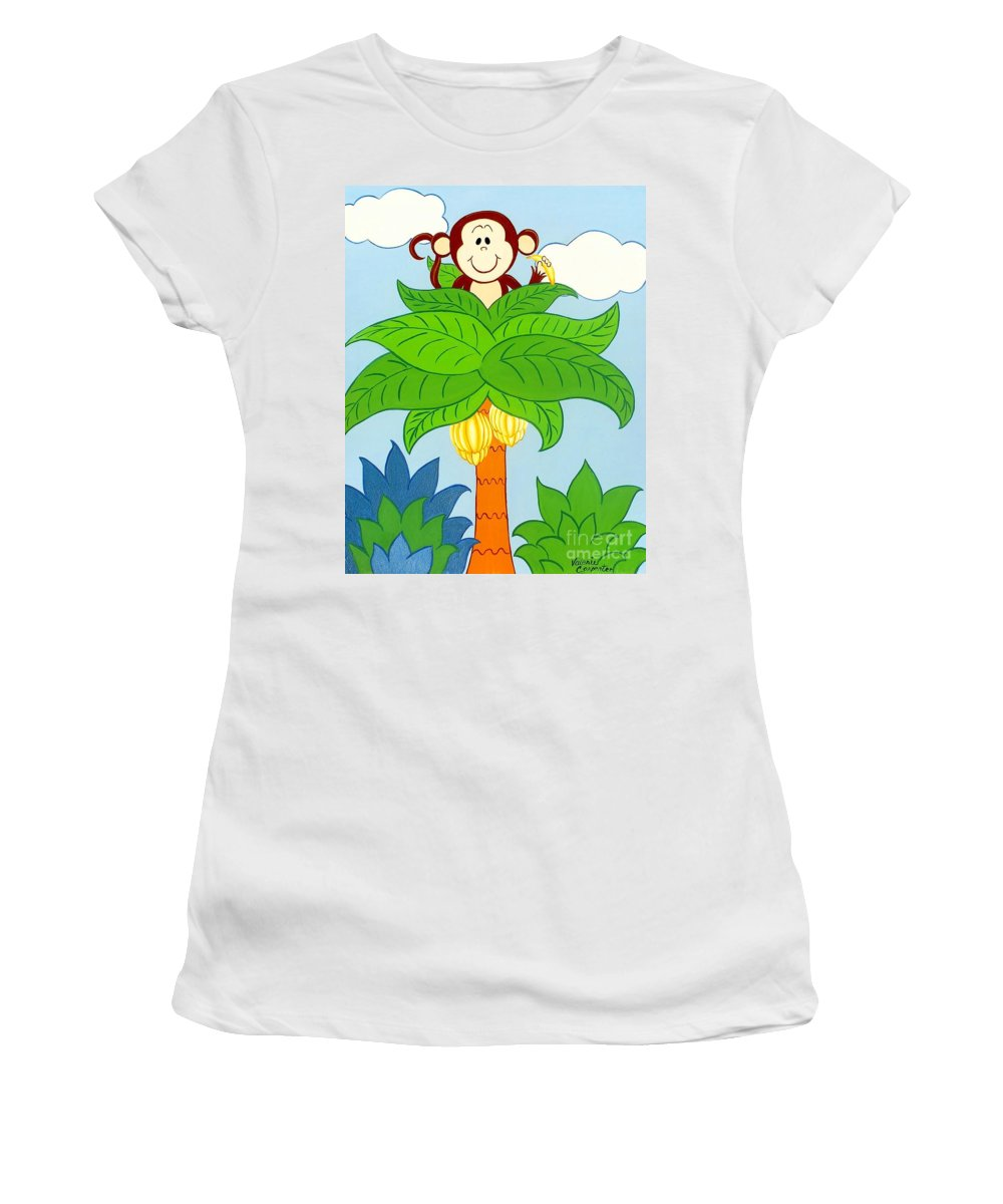Monkey Women's T-Shirt (Athletic Fit) featuring the painting Tree Top Monkey by Valerie Carpenter