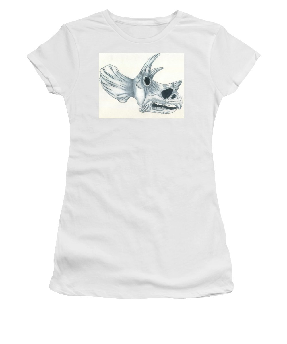 Dinosaur Women's T-Shirt (Athletic Fit) featuring the drawing Tricerotops Skull by Micah Guenther
