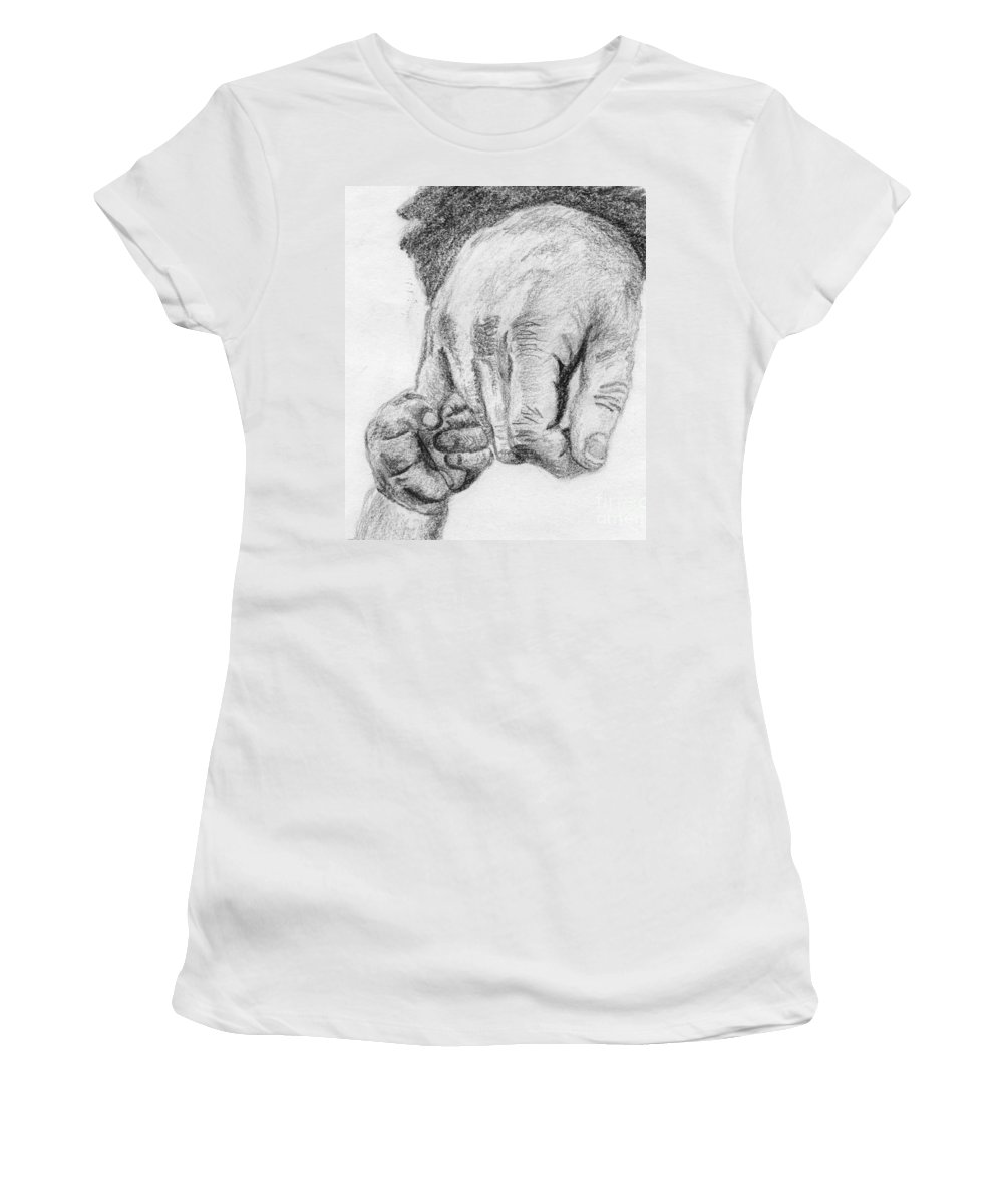 Hands Women's T-Shirt (Athletic Fit) featuring the drawing Trust by Annemeet Hasidi- van der Leij