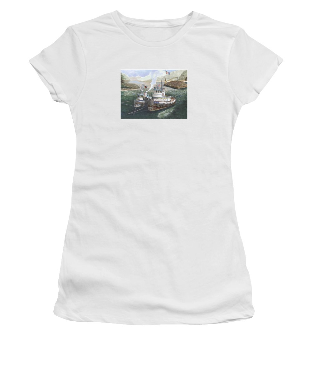 Gale Warning Women's T-Shirt (Athletic Fit) featuring the painting Gale Warning Safe Harbor by Jack Pumphrey